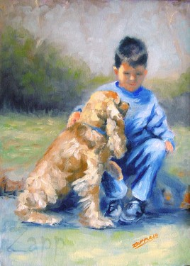 Boy & Spaniel Portrait